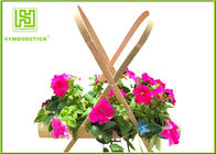 Unique Bamboo Plant Pot Hanging Flower Box , Bamboo Flower Containers Customized Handle