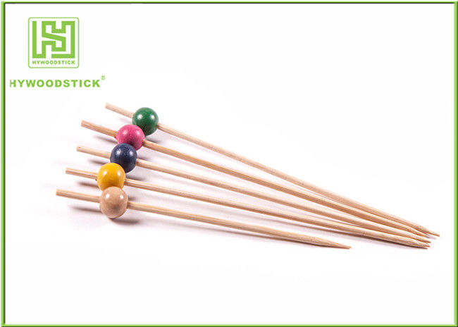 Fancy Extra Long Toothpicks Skewers , Wood Beads Smooth Bamboo Food Picks