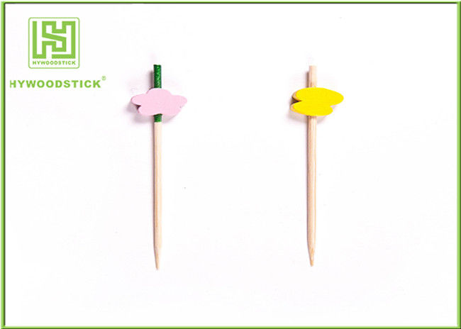 Birch Wood Decorative Food Toothpicks Disposable Birthday Party Kits OEM Available