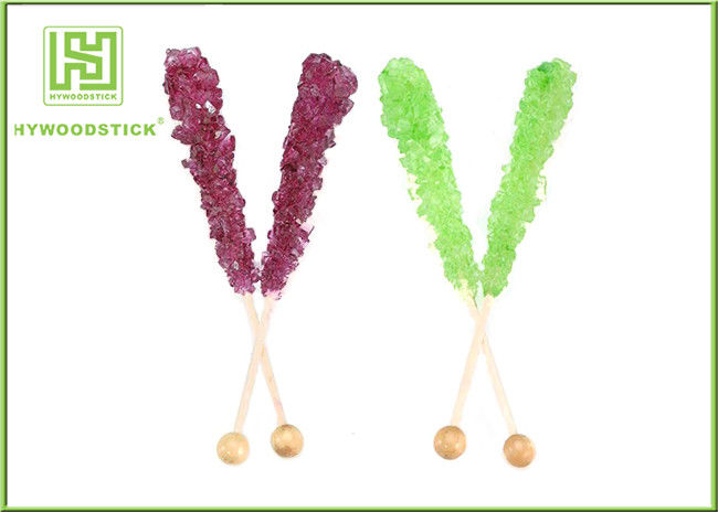 Rainbow Sugar Candy Sticks , 120mm Rock Candy Wooden Sticks For Coffee Milk